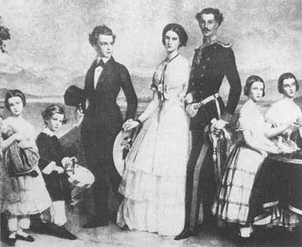 Este cuadro de Stieler, pintor de la corte de Munich, fué un regalo de bodas para Sisí y representa a sus siete hermanos en la época en que Sisí contrajo matrimonio (1854).