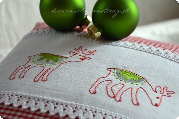Rentierkissen grün-rot (2)