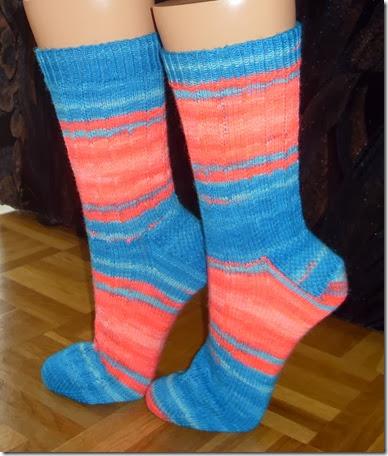 2014 Socken Fluor blau rot