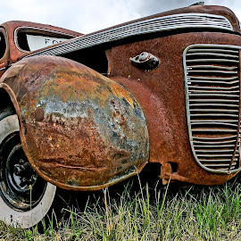 Rusty by Barbara Brock - Transportation Automobiles ( car for sale, old car, rusted car, antique car, old car in a field )