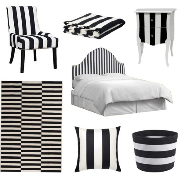 Black and white stripes moodboard