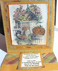 Easel card  stamped autumn inside of card