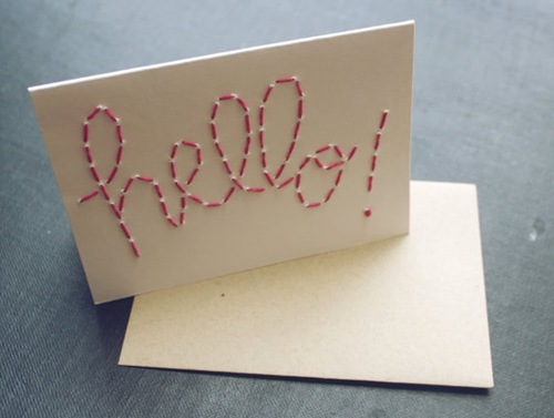 Embroidered Hello Card by Blue Eye Brown Eye