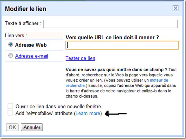 ajouter rel=nofollow dans l'éditeur des messages sur blogger blogspot