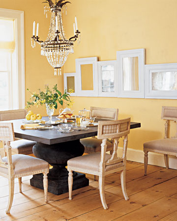 The custard wall color makes this room pop with brightness. (Martha Stewart Living)