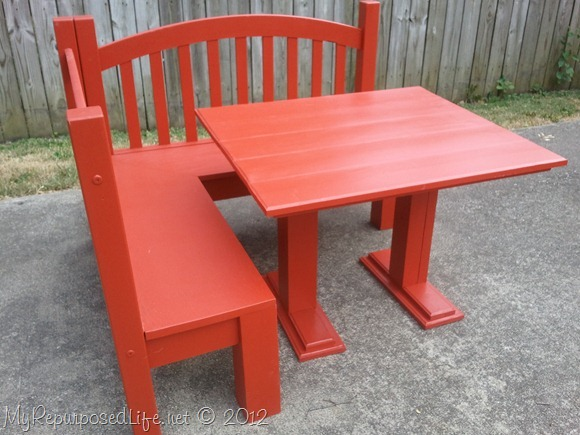 kid red bench table