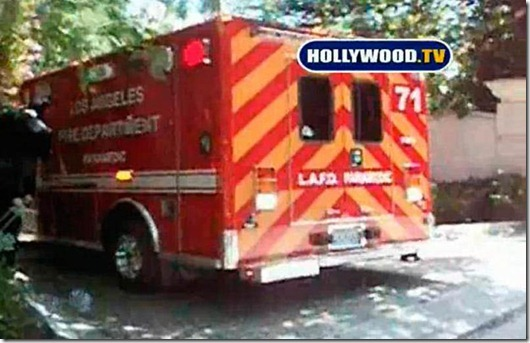 An ambulance leaves the rented Los Angeles home of singer Michael Jackson as he is rushed to the hospital in this video frame grab from video shot in Los Angeles...An ambulance leaves the rented Los Angeles home of singer Michael Jackson as he is rushed to the hospital in this video frame grab from www.hollywood.tv video shot in Los Angeles, June 25, 2009. Jackson had taken ill at his home and found not breathing by paramedics who rushed him to the hospital. He was pronounced dead after arriving at the hospital in full cardiac arrest, Los Angeles coroner Fred Corral told CNN on Thursday. REUTERS/www.HOLLYWOOD.TV/Handout (UNITED STATES ENTERTAINMENT HEALTH OBITUARY) Mandatory Credit No TMZ No Access Hollywood, No Extra, No Inside Edition Hollywood.tv Logo Must Not Be Cropped Out of Image Or Obstructed
