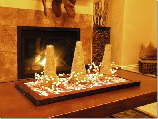 diy projects with jute--make decorative trees from styrofoam cones wrapped in jute