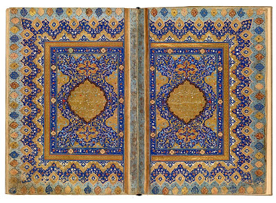 "The First Sura of the Jerrāḥ Pasha Qur˒an Qur˒an, in Arabic. Persia, Shiraz, ca. 1580. This is the second pair of richly decorated facing pages in the Jerrāḥ Pasha Qur˒an, made in Shiraz about 1580. It marks the beginning of the Qur˒an itself, starting with sura 1 (al-Fātiḥa, or ""The Opening Chapter""). The five lines of text on each page are enclosed within a gold-lobed medallion. They are written in raiḥān (sweet basil) script, which was much favored by poets, for its very name evoked its fragrance. Muḥammad Aṣlaḥ, an eighteenth-century poet, even wrote that real gardens would envy the raiḥān twig ""lifting its head from the bismillah (call to piety)."" The first line contains the title of the sura, followed by the call to piety, the bismillah: In the name of God, the Merciful, the Compassionate. The sura is continued on the left page. This double-opening, and the three others in the manuscript, closely resemble the work of the Ottoman master gilder Muḥammad ibn Tāj al-Dīn Ḥaidar (d. 1588)."