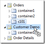Container 'c101' duplicated onto Customer Demo page.