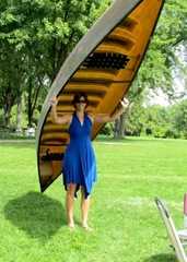 Terri Arrives With Canoe - Whew, that was a long portage from Toronto!