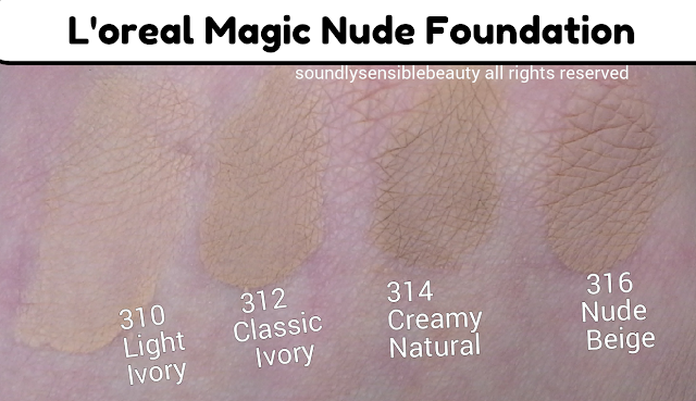 L'Oreal Magic Nude Liquid-Powder Foundation SPF 18; Review & Swatches of Shades 310 Light Ivory, 312 Classic Ivory, 314 Creamy Natural, 316 Nude Beige,