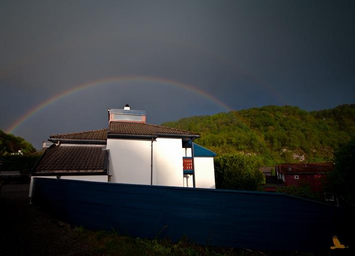 Regnbuer over huset