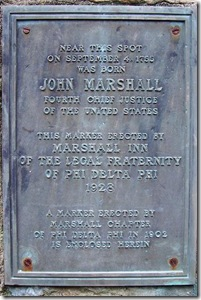Plaque on the pyramid at John Marshall's Birthplace