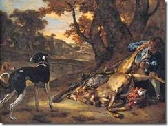 Jan_Baptist_Weenix_-_A_Huntsman_cutting_up_a_Dead_Deer,_with_Two_Deerhounds