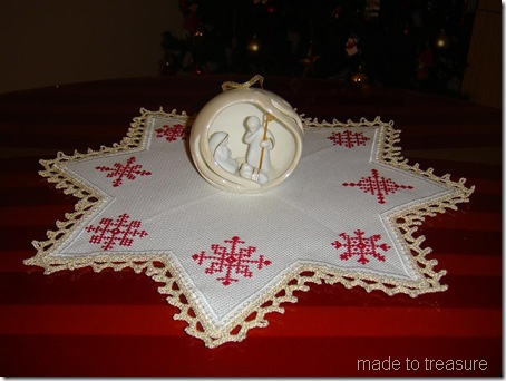 nativity on candle mat