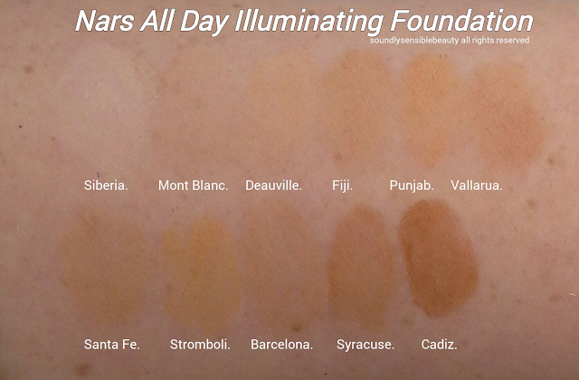 Nars All Day Luminous Powder Foundation; Swatches of Shades