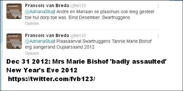 BISHOF MARIE SWARTRUGGENS FARM ATTACK BADLY INJURED DEC 31 2012 ARMED BLACK MALE GANG