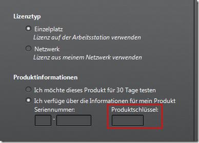Übersicht Produktschlüssel / Product Keys für die Autodeskprodukte