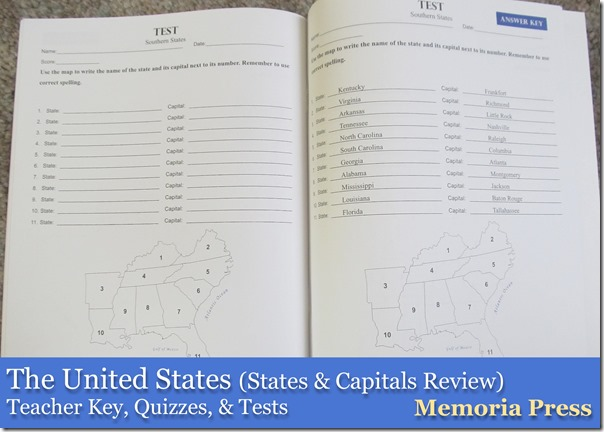 The United States & Capitals Review from Memoria Press