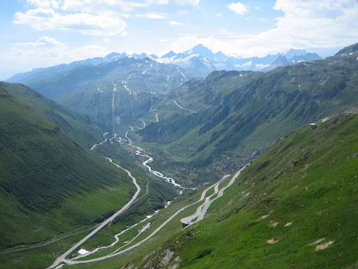 Looking back towards the Grimsel. Note the ribbon of road towards the right bottom that's kinda hanging in space.