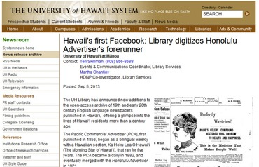 Hawaii's first Facebook