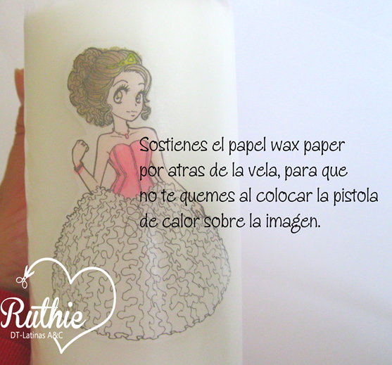 Tutorial usando una estampa digital en una vela - Digi stamp on a candle - Latinas Arts and Crafts - Ruthie Lopez DT 6