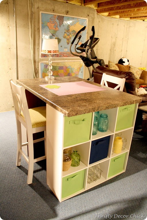 craft table from cube shelves