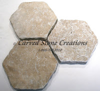 "8"" Hexagon Noce Travertine Tumbled Paver 1 1/4"""