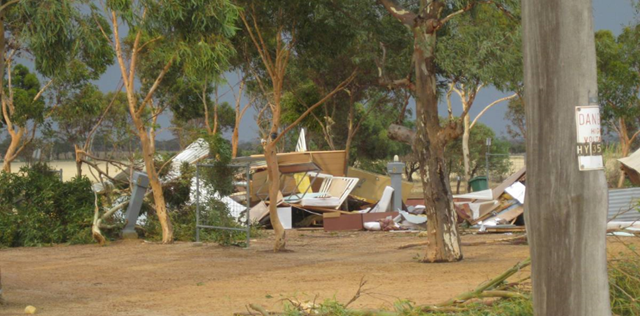 Karlgarin bore the brunt of the freak storm on 15 January 2013, where the local general store and sports hall had their roofs ripped off. At Tressie's Caravan Park, many trees and a donga used for accommodation were flattened by the forceful winds. Photo: Kevin Lockyer / perthweatherlive.com