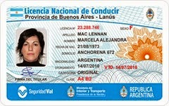 Sample Argentine Driver's License [photo courtesy of Agencia Nacional de Seguridad Vial]