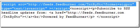 feedburner javascript snippet