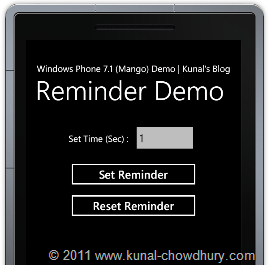 WP7.1 Demo - Reminder Application Main UI