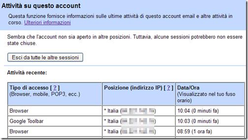 ultime attività dell'account Gmail