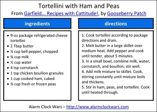 tortellini with ham and peas recipe card