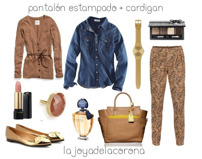 denim   pantalón estampado
