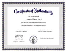 Certificate Of Authenticity Templates Provenance