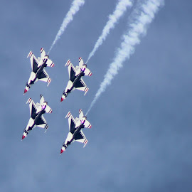 USAF Thunderbirds by Amara Dempsey - Transportation Airplanes ( novice, airplanes, air force, airplane, aircraft, entertainers, entertainment, air show, airshow,  )