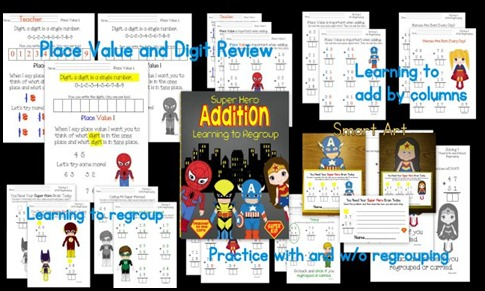Super Hero Success Two Digit Addition With and Without Regrouping Unit