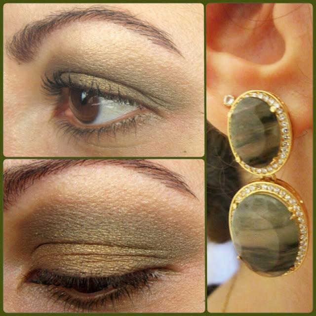 moda estilo costura make up maquiagens sombras verde dourado brinco