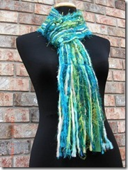 green blue handmade scarf