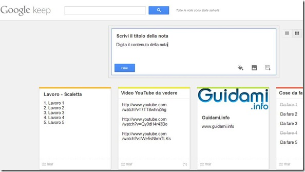 Google keep webapp su internet