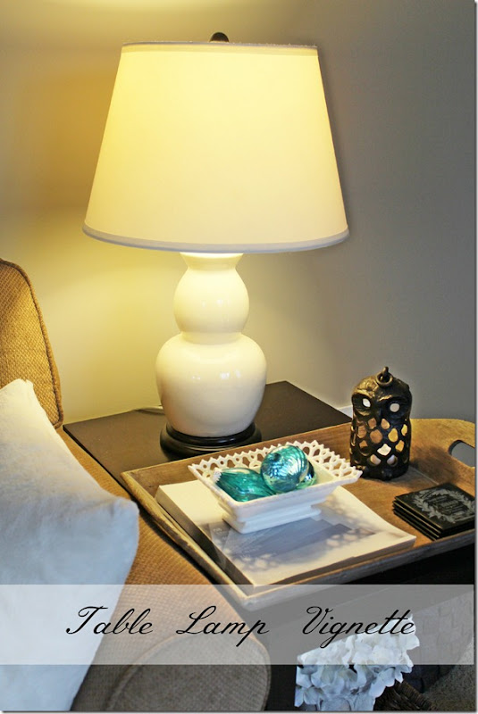 Table lamp vignette from Setting for Four #Table #Lamp #Decor #Design