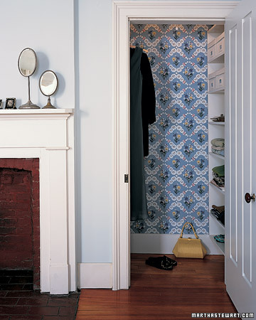 Wallpaper can dress up areas that are often underconsidered, like the closet. (marthastewart.com)