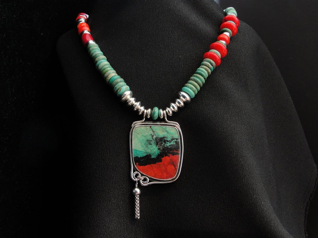 SONORA SUNRISE w/Tassel onTurquoise & Coral Necklace...SOLD
