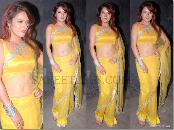 Urvashi_Sharma_Yellow_Faux_Shimmer_Saree