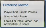 Preferred moves of Joe Allen