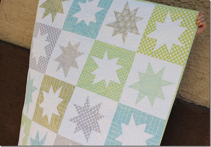 Wonky Star Quilt in blue green and gray