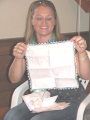 Beckys shower with linen crocheted blue trimmed hanky from auntie gert