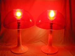 red Gilbert Products Softlite mushroom lamps